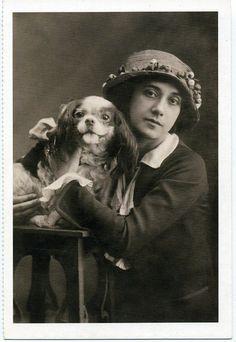 Tamara Karsavina - Spaniel Dog, 1913 Ballet Russian postcard