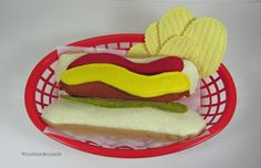 Hot Dog and Potato Chips Meal  Play Felt Food by CositasdeCassie