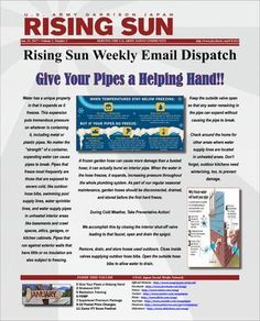 Rising Sun Weekly Email Dispatch Jan 23 Volume 1, Number 2  Weekly Newsletter
