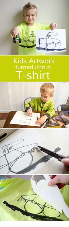 Let kids design their own t-shirt with their artwork! Easy DIY kid crafts tutorial. Makes a great gift idea!