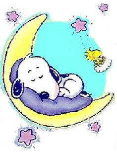 Good Night Moon ~ Snoopy sleeping on a crescent moon with Woodstock on a cloud. Baby Snoopy, Snoopy Love, Peanuts Cartoon, Peanuts Snoopy, Charlie Brown Und Snoopy, Snoopy Und Woodstock, Snoopy Pictures, Snoopy Quotes, Good Night Moon