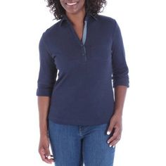 Riders by Lee Women's Essential 3/4 Sleeve Corinne Knit Polo, Size: 2XL, Blue