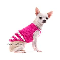 Every little girls deserves to look and feel like a princess. This white pink princess dog dresses is made from soft white and pink cotton yarn which is very comfy and soft. It is trimmed with hand crocheted ruffles. Proudly designed and handmade crocheted by Myknitt Designer Dog Clothes. Any custom made pet clothing are welcome. This listing is for handmade dog clothes DF44 in size XXS. Length:8 Fits neck:8 Fits chest:10  Please kindly check your pets measurements with my pattern size chart…