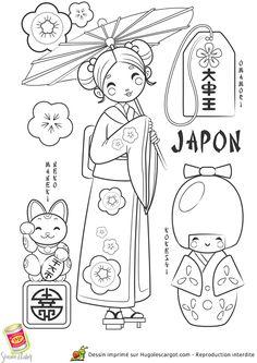 Coloriage / dessin enfant Japon