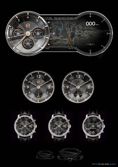 Bentley EXP10 Speed6 concept combi sketch with extra clock and watch