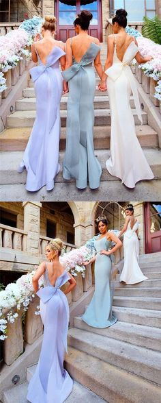 mermaid long bridesmaid dress, 2017 backless bridesmaid dress with ribbon, lavender long bridesmaid dress,bridesmaid dress