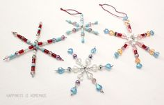 These kid-made beaded snowflake ornaments are elegant and beautiful, but they are quick to make and require just a couple of basic supplies!