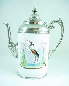 Antique American Pearl Agateware Graniteware Coffee Pot -  De-bric-et-de-broc Antiques