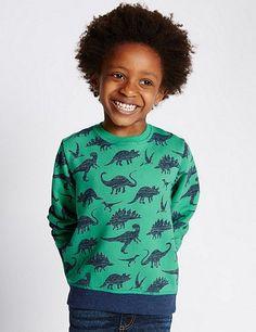 Pure Cotton Dinosaur Print Sweatshirt (1-7 Years) | Marks & Spencer London