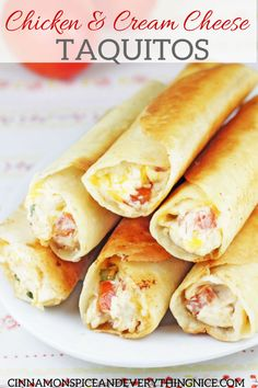 Try Chubby Chicken and Cream Cheese Taquitos! You'll just need 3 cups cooked shredded chicken (I like rotisserie), 6 ounces cream cheese, softened, cup. I Love Food, Good Food, Yummy Food, Mexican Dishes, Mexican Food Recipes, Comida Tex Mex, Great Recipes, Favorite Recipes, Recipes Dinner