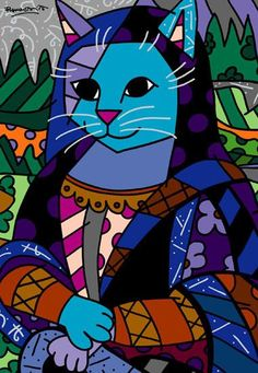 Mona Cat, Pop Art by Romero Britto Paris Kunst, Paris Art, Mona Lisa, Illustrations, Illustration Art, Arte Elemental, Pop Art Artists, Art Web, Graffiti Painting
