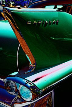 The distinctive tail fin and light of a vintage Cadillac at a car show in Atlanta. General Motors, Cadillac, Chevrolet Corvette, 1957 Chevrolet, Chevrolet Trucks, Old Trucks, Lifted Trucks, Hood Ornaments, Michigan