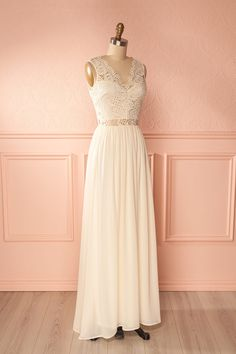 Brinda Cream Off-White Lace Bodice Maxi Gown | Boudoir 1861