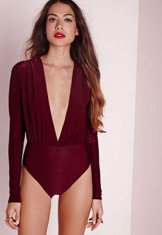 Missguided - Slinky Deep Plunge Bodysuit Burgundy c7bd465f4