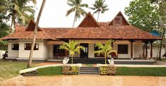Home Becomes Home - Traditional House Plan. Traditional Home.Home Plans Kerala. Porch House Plans, Courtyard House Plans, Craftsman House Plans, House Roof, Village House Design, Kerala House Design, Village Houses, Kerala Traditional House, Traditional House Plans