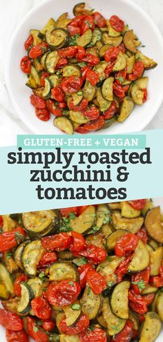 Simply Roasted Zucchini and Tomatoes. The perfect vegetable side dish! Gluten free, dairy free, paleo, whole30, and vegan! // zucchini recipe // tomato recipe // roasted zucchini // roasted tomatoes // roasted veggies // roasted vegetables // #zucchini #tomatoes #summerrecipe #sidedish #roastedvegetables #veggies #paleo #glutenfree #vegan #whole30 Roasted Zucchini Recipes, Veggie Recipes Healthy, Roast Zucchini, Vegetarian Recipes, Roasted Zuchinni, Zucchini Tomato, Keto Recipes, Tomato Side Dishes, Zucchini Side Dishes