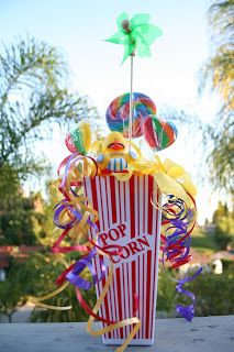 First Birthday Carnival theme popcorn centerpieces