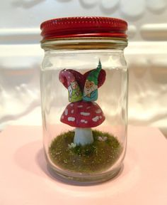 Red Amanita Mushroom Gnome Terrarium Sweetheart by WorkofWhimsy Glass Bowls, Message In A Bottle, Gnome Garden, Glass Containers, Terrariums, Ivy, Snow Globes, Woodland, I Shop