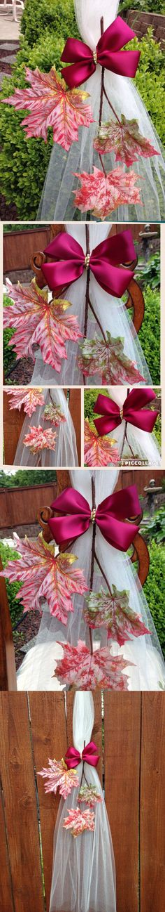 Ribbons and Bows 20941: Set Of 6 Fall Pew Bows, Autumn Chair Bows Arch Aisle, Table Fall Wedding Decor -> BUY IT NOW ONLY: $47.95 on eBay!