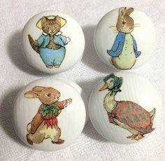 4 x Gorgeous Handpainted and Decoupaged Beatrix Potter by n5nsy