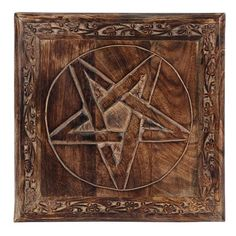 Made from mango wood, this beautifully finished medium altar table features a pentagram design with a carved border. H:21cm W:30cm D:30cm Candle Spells, Candle Set, Witch Cat, Moon Goddess, Cat Quotes, Gods And Goddesses, Altar, Tarot, Hand Carved