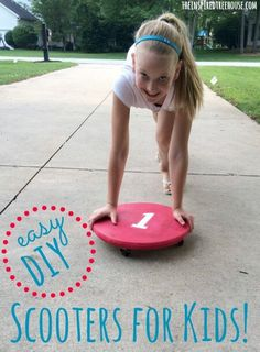 Instructions for making your own scooter for strengthening, balance, coordination and hours of fun on the driveway! Gross Motor Activities, Fun Activities For Kids, Infant Activities, Vestibular Activities, Make Your Own Scooter, Easy Diy Treehouse, Kids Scooter, Scooter Scooter, Autism Parenting