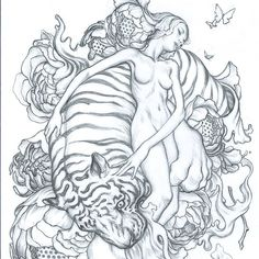 """Pinup. Work in progress. Graphite sketch, 5 x 7"""". To be enlarged and transferred.  #tiger #pinup #WIP #clonedoutnipples"""