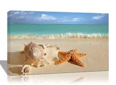 eBay公認海外オークション セカイモン,Modern Art Canvas Painting Starfish Shell Blue Sea Beach Wall Decor Print, Home