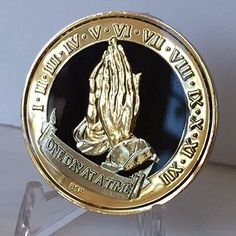 One Day At A Time Praying Hands Black Gold Plated Nickel Tri-Plated AA Alcoholics Anonymous Medallion Sobriety Chip Years 1 2 3 4 5 6 7 8 9 10 11 12 Year 1-12 BSP