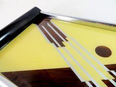 Art Deco German DRGM Geometric Under Glass Reverse Painted Cocktail Tray 1930s - Ebay £65.00