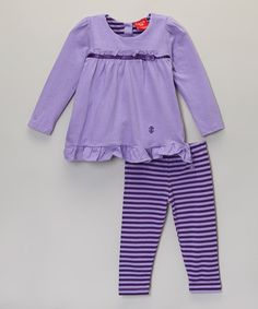 Another great find on #zulily! Purple Ruffle Top & Stripe Leggings - Infant #zulilyfinds