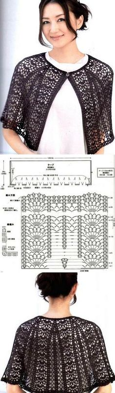 Ideas Crochet Shrug Diagram Ponchos For 2019 Crochet Bolero, Gilet Crochet, Crochet Shrug Pattern, Crochet Cape, Crochet Shawls And Wraps, Crochet Jacket, Crochet Cardigan, Crochet Scarves, Crochet Clothes