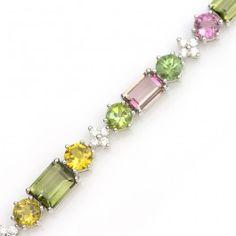 17.07+ctw+Tourmaline+&+0.58+ctw+Diamond+14K+White+Gold+Bracelet