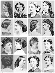 Sixteen different Victorian hairstyles. 1860s-1880s
