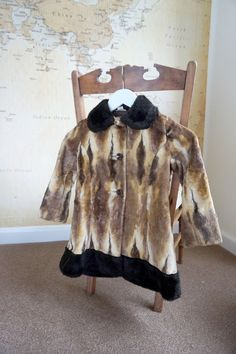 Faux Fur Coat Girls 60s Faux Fur Swing Coat by AdasAtticVintage