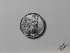 Marcello Barenghi: A 100 lire coin - drawing