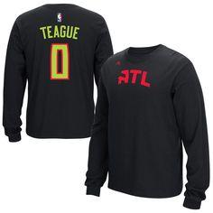 Jeff Teague Atlanta Hawks adidas Name   Number Long Sleeve T-Shirt - Black 9764acf05