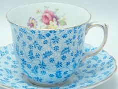 Foley Vintage Fine Bone China Tea Cup and Saucer Made in England Blue Leaf Floral Chintz Mixed Flower Bunches Gold Trim