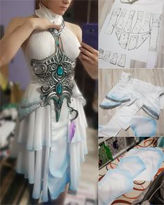 Narga and aoki cosplay, wow, tyrande Cosplay Armor, Cosplay Diy, Cosplay Dress, Dress Outfits, Cool Outfits, Fantasy Dress, Fantasy Art, Character Outfits, Mode Inspiration