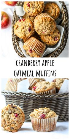 These nutritious Oatmeal muffins are packed with fruit and fall flavours with no refined sugar added. #muffinrecipes #cranberryapplemuffins #fallbaking #applemuffins #applerecipes #cranberryrecipes Healthy Muffin Recipes, Healthy Muffins, Healthy Dessert Recipes, Brunch Recipes, Wine Recipes, Whole Food Recipes, Baking Recipes, Desserts, Best Apple Recipes