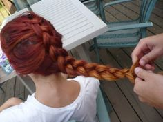 ombre long braid red blonde brown