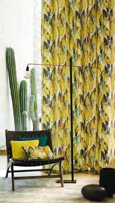 Paradisiaca - Casamance Window Wall Decor, Window Curtains, Designers Guild, Visual Merchandising Displays, Casamance, Cool Fabric, Curtain Fabric, Window Coverings, Textile Design