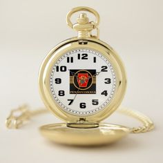 Pennsylvania Railroad Vintage Logo Black & Gold Pocket Watch - black gifts unique cool diy customize personalize