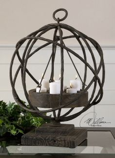 """Uttermost 17059 Sammy candleholder. 15""""X15""""X21""""H. For cocktail tables. Your price 229.00. In stock at Georgia Furniture."""