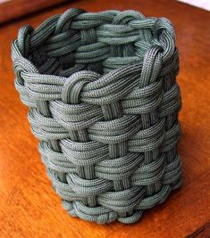 Another woven paracord can koozie, this time done with the cord doubled up, instead of running the longer singled strand. (36 foot long strand of paracord)