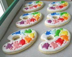 paint pallet cookies... Use this same idea for our name tags!?