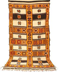 Dimensions : 156 in x 80 in cm x 203 cm) (not including 4 in tassels), Handwoven, wool. Moroccan Berber Rug, Unique Rugs, Large Rugs, Orange Flowers, Throw Rugs, Vintage Rugs, Art Forms, All The Colors, Bohemian Rug