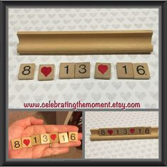 How fun for engagement photo shoots! #SaveTheDate #photoprops #upcycled #scrabble #weddingplanning #engagementsession #photosession #photoprop #weddingannouncement