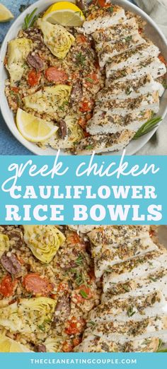 Looking for an easy, healthy lunch or dinner? These Greek Chicken Cauliflower Rice Bowls are delicious and gluten free, + paleo friendly! Clean Eating Recipes, Lunch Recipes, Diet Recipes, Fixate Recipes, Whole30 Recipes, Eating Clean, Healthy Grilled Chicken Recipes, Healthy Gluten Free Recipes, Healthy Meal Prep
