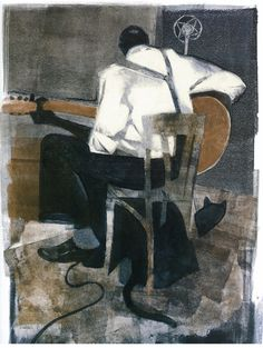 "Gary Kelley - from ""Black Cat Bone: The Life of Blues Legend Robert Johnson"" - Monotype - 2006"